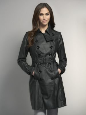 New York & Co. Faux Leather Trench Coat