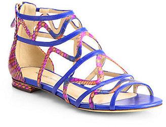 Alexandre Birman Strappy Python & Leather Gladiator Sandals