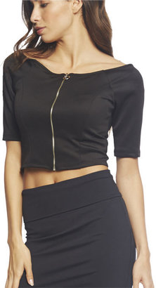Arden B Zip Front Off Shoulder Crop Top