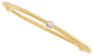 Jude Frances 18k Yellow Gold Rope & Diamond Station Bangle