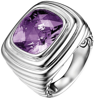 John Hardy Amethyst Square Silver Ring, Size 7