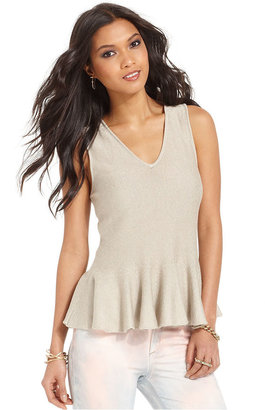 Rachel Roy Top, Sleeveless V-Neck Peplum-Hem Tank