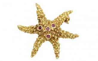 Tiffany & Co. excellent (EX 18k Yellow Gold & Ruby Starfish Pin Brooch Pin