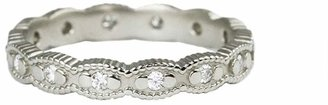 Megan Thorne Ribbed Scallop Ring Band - White Gold