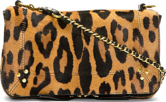 Jerome Dreyfuss Tan Calf-Hair Leopard Print Bobi Shoulder Bag