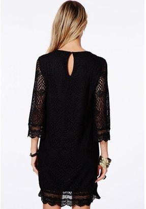 Missguided Diahanna Black Crochet Shift Dress