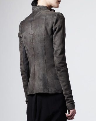 Rick Owens Suede Shearling-Lined Zip Jacket
