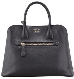 Prada Saffiano Cuir Open Promenade Tote Bag, Black (Nero)
