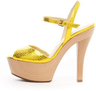 KORS Iden Snake-Print Platform Sandal