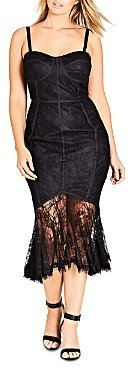 City Chic Plus So Seductive Lace-Overlay Mermaid Dress