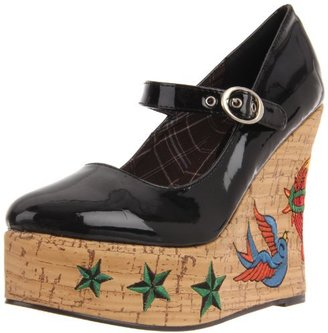 Penthouse Women's Kat Tattoo Embroidered Wedge
