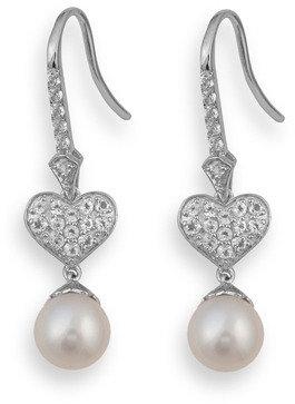 Badgley Mischka Be-Loved White Topaz & Pearl Earrings
