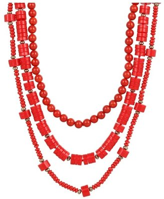 Lucky Brand Indian Spice Chunky Strand Necklace (Coral) - Jewelry