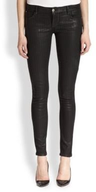 Faith Connexion Coated Textured-Stripe Skinny Jeans