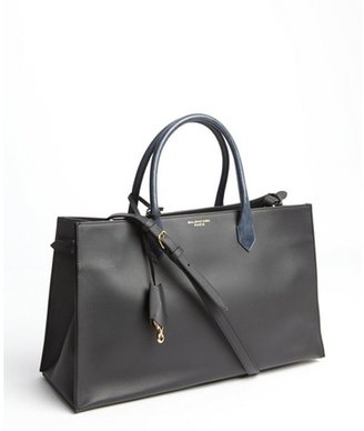 Balenciaga black and blue snakeskin handle tote bag
