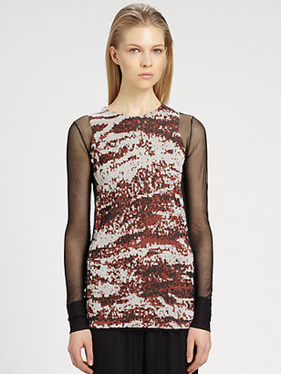 Alexander Wang Semi-Sheer Melange Jacquard Top