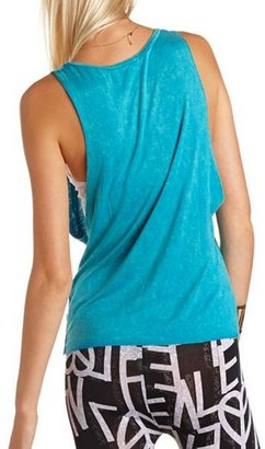 Charlotte Russe Mineral Wash Graphic Muscle Tank