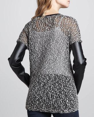 Robert Rodriguez Mix-Fabric/Faux-Leather Zip Cardigan