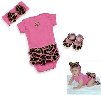 Bed Bath & Beyond Baby Bella MayaTM 3-Piece Lollipop Leopard Bodysuit Set