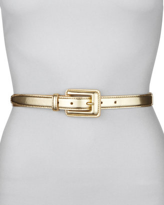 Neiman Marcus Covered Buckle Mirror Belt, Gold