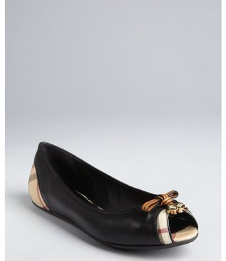 Burberry black leather and nova coated canvas peep toe flats