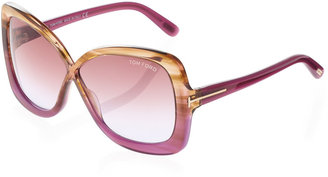 Tom Ford Calgary Butterfly Sunglasses, Violet
