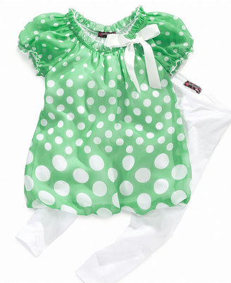 Tempted Kids Sets, Little Girl Dotted Bubble Top and Leggings