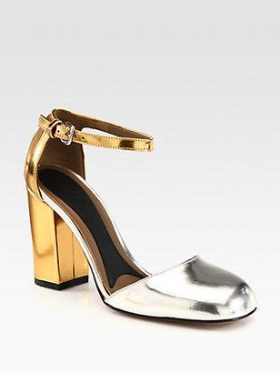 Marni Bicolor Metallic Leather Ankle Strap Pumps