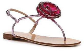 Giuseppe Zanotti Metallic Leather Flower Flat Sandal