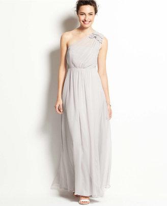 Ann Taylor Silk Georgette Floral One Shoulder Gown