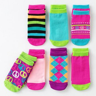 Pink Cookie 7-pk. peace symbol patterned no-show socks - girls