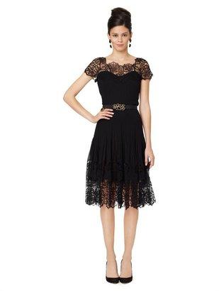 Oscar de la Renta Lace Illusion Top Dress With Soft Pleated Skirt