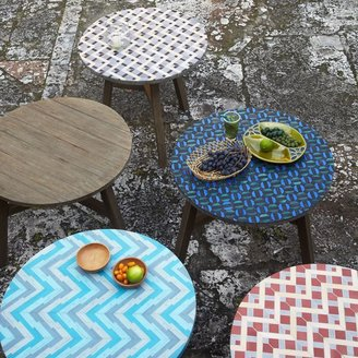 west elm Mosaic Tiled Bistro Table - Gray Zigzag Top + Driftwood Base