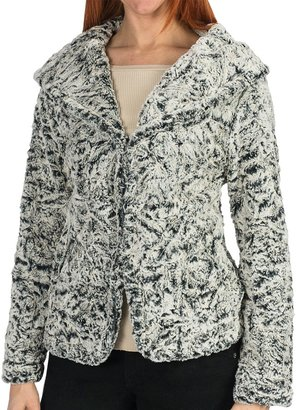 dylan Embossed Silky Hooded Jacket (For Women)