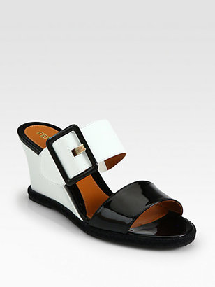 Fendi Vernis Patent Leather Wedge Slides