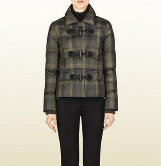 Gucci Check Print Nylon Feather Jacket