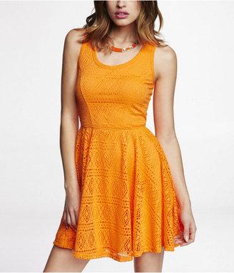 Express Geometric Lace Skater Dress