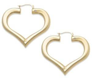 Signature Gold Diamond Accent Heart Hoop Earrings in 14k Gold over Resin