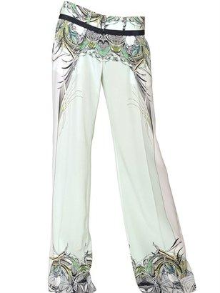 Roberto Cavalli Printed Silk Crepe De Chine Trousers