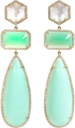 Irene Neuwirth Rainbow Moonstone, Diamond & Chrysoprase Drop Earrings