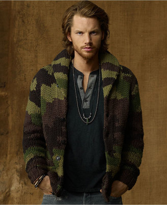 Denim & Supply Ralph Lauren Sweater, Camo Shawl-Collar Cardigan