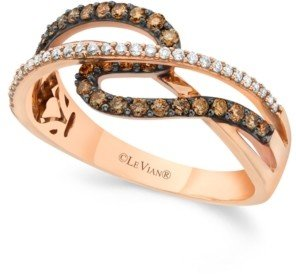 LeVian Chocolate by Petite Le Vian Chocolate and White Diamond (3/8 ct. t.w.) Ring in 14k Rose Gold