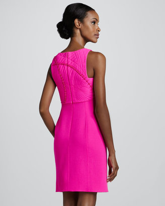Ralph Rucci Fossil-Bodice Dress, Pink