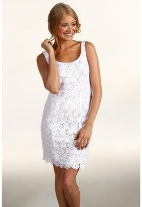 Muse Eyelet Scallop Hem Sheath Dress (White) - Apparel
