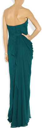 Notte by Marchesa Embellished draped silk-chiffon gown