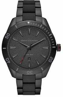 Armani Exchange Enzo Three-Hand Black Stainless Steel Watch