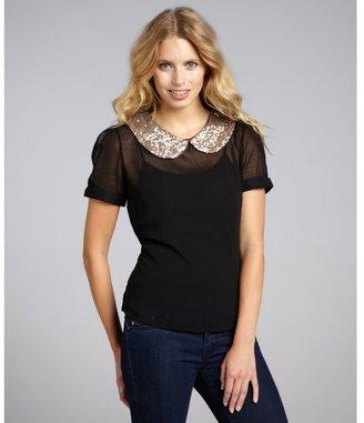 Romeo & Juliet Couture black chiffon sequin collar short sleeve blouse