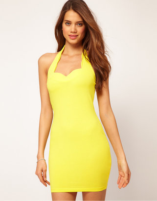 Asos Halter Body-Conscious Dress With Scallop Detail