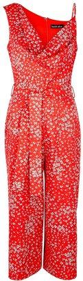 Lavish Alice Red Floral-print Cropped Jumpsuit