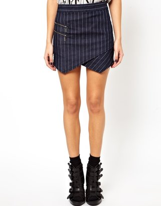 Asos Denim Envelope Skirt with Zip Detail in Pinstripe